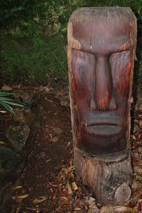 timber carving, easter island, garden statue
